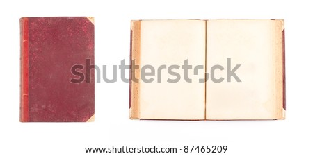opened and closed ancient book isolated on white background - stock photo