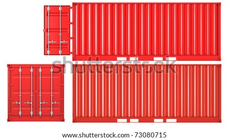 Opened and closed container isolated on white background, front and side view - stock photo