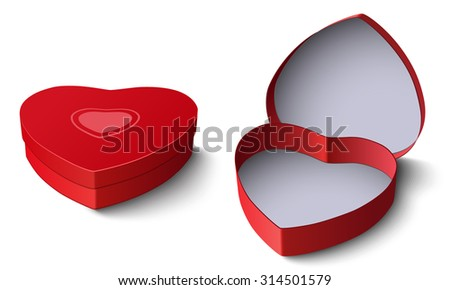 Opened and closed red gift box in shape of heart isolated on white background - stock photo