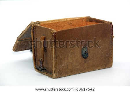 Opened antique bag isolated over white - stock photo