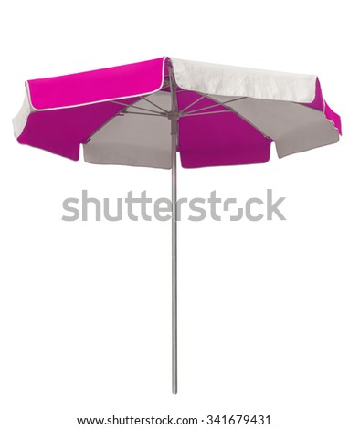 Opened beach umbrella with pink and white stripes isolated on white. Clipping path included. - stock photo