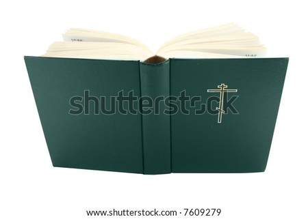 Opened bible book with clipping path, isolated - stock photo