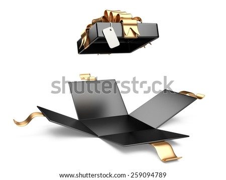 Opened black gift box blank gift tag isolated on a white background - stock photo