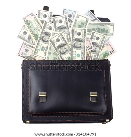 Opened black leather briefcase with dollars isolated on white background