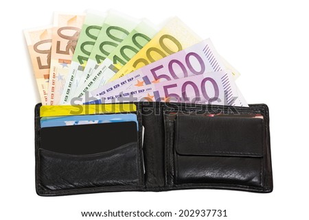 Opened black leather wallet loaded with European banknotes and credit cards isolated on white background. - stock photo