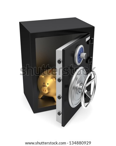 Opened black safe with golden piggy bank inside