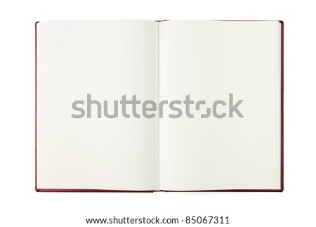 Opened blank book with clipping path - stock photo