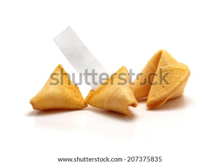 Opened blank fortune cookie with unopened one behind - stock photo