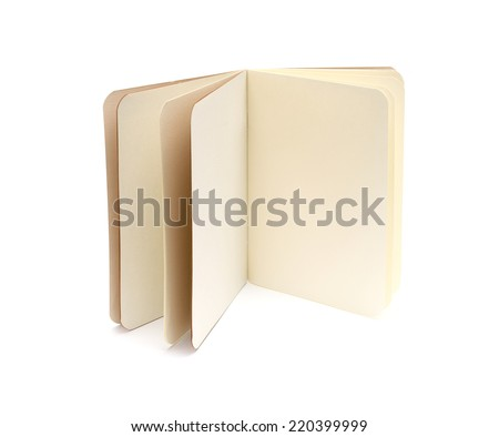 opened blank note books - soft pages texture - isolated on white - stock photo