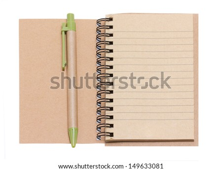Opened Blank Notebook With Pen Isolated on White. - stock photo