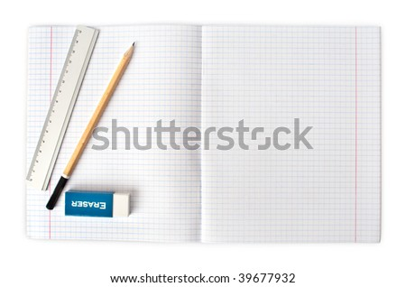 opened blank notebook with pencil and eraser isolated on white background