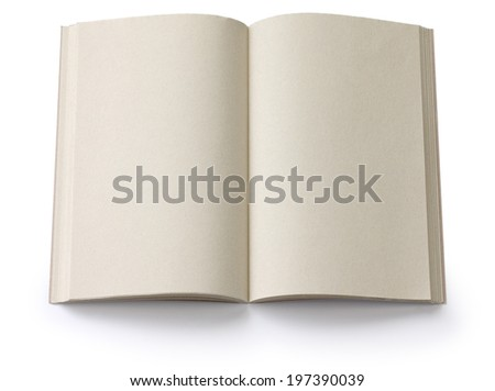 opened blank paperback isolated on white background - stock photo
