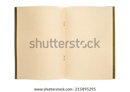 Opened blank paperback isolated on white background. - stock photo