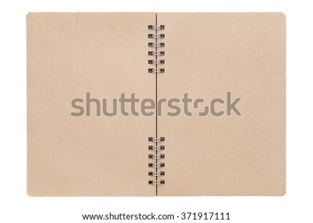 opened blank spiral brown notebook - stock photo