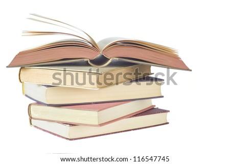 opened book, close up isolated on white background - stock photo