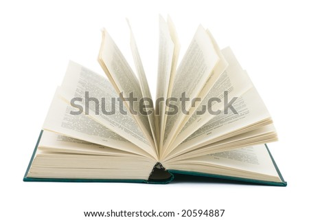 Opened book isolated on white background