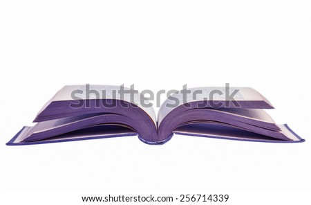 Opened book isolated on white surface. - stock photo