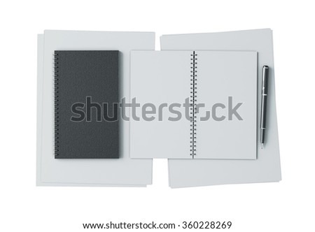 Opened book mockup template with pen and paper - stock photo