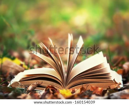 Opened book over nature background - stock photo