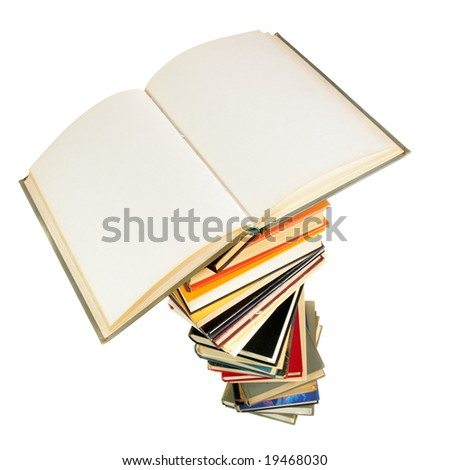 Opened book with blank pages isolated over white background - stock photo