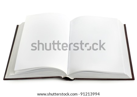 Opened book with blank pages on a white background - stock photo