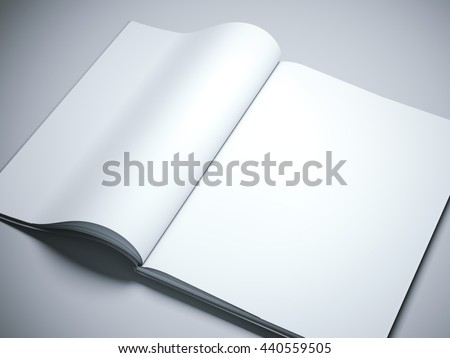 Opened book with blank white pages on gray floor. 3d rendering - stock photo