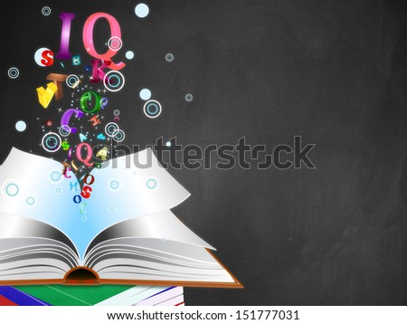 Opened book with colorful letters bursting out of it on blackboard background. - stock photo