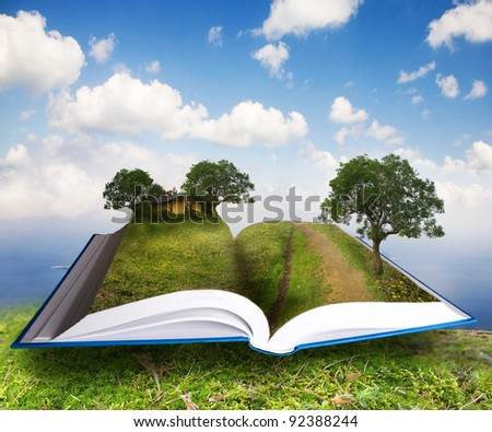 opened book with landscape - lying on moss