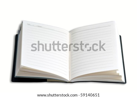 Opened book with lines