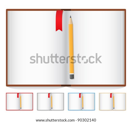Opened book with pencil and bookmark - stock photo