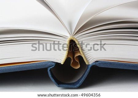 Opened book with white pages. Selective focus. - stock photo