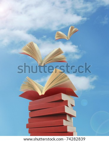 opened books flying away - stock photo