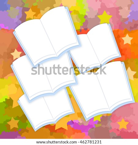 Opened books with blank pages on bright background with stars