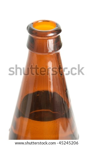 opened bottle of beer without cap on a white background it is isolated - stock photo