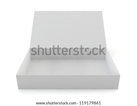 opened box - 3d render on white - stock photo