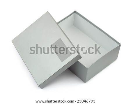 Opened box with blank label isolated on white background