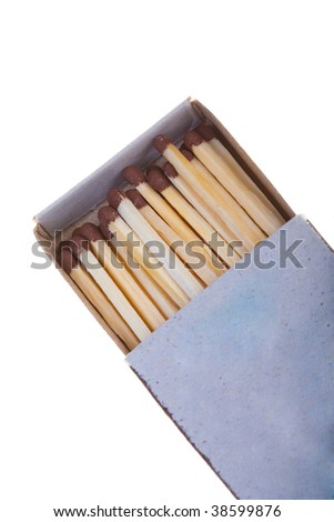 Opened boxes of matches on a white background