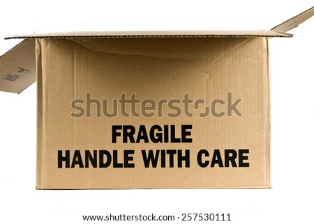 Opened Brown Fragile Handle With Care Box On White Background