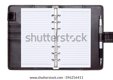 opened brown leather notebook isolated on a white background  - stock photo