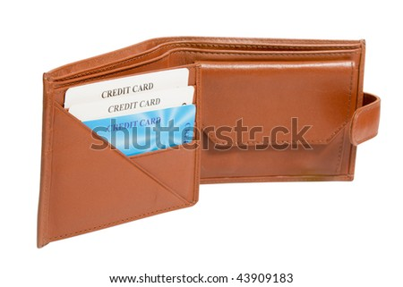 opened brown leather wallet with credit cards isolated on white - stock photo