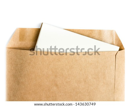 Opened brown Recycle  envelope with paper letter inside on white background, closeup - stock photo