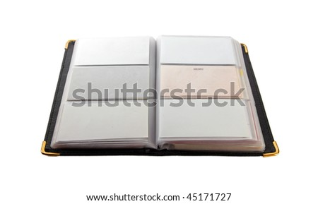 Opened business card book over white background - stock photo