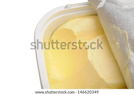 opened butter box isolated on white background  - stock photo