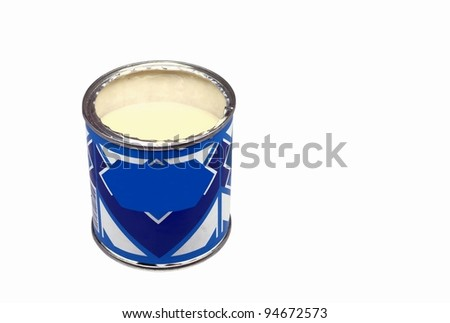 Opened can of the condensed milk - stock photo