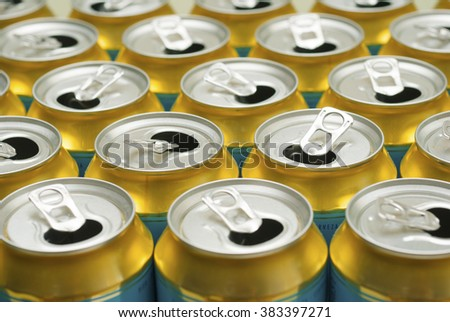 opened canned drinks - stock photo