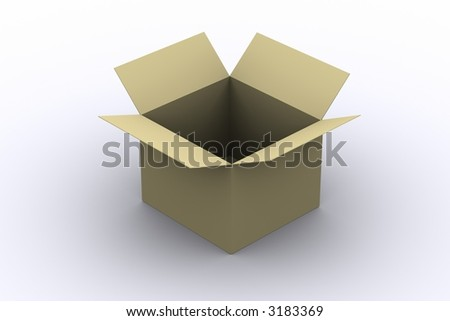 Opened Cardboard Box - stock photo