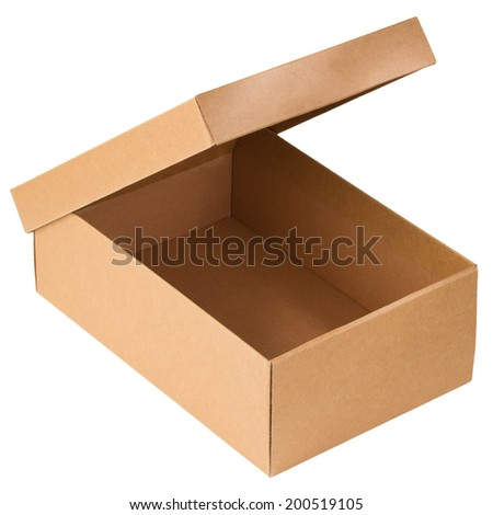Opened cardboard box isolated on a white background - stock photo