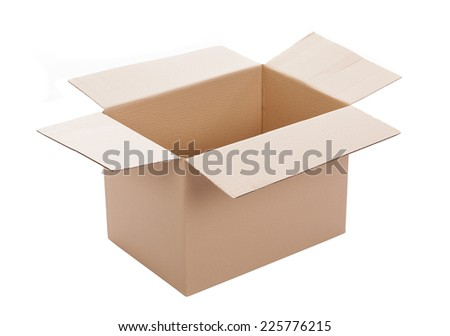 Opened cardboard box, isolated on white background