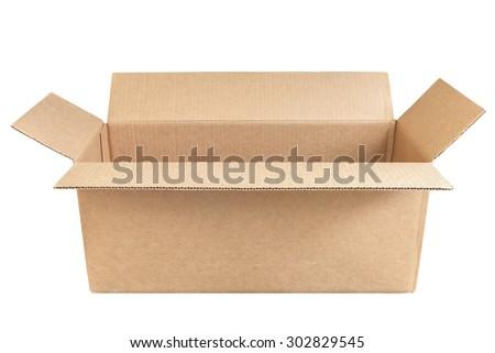Opened cardboard box isolated on white background. - stock photo