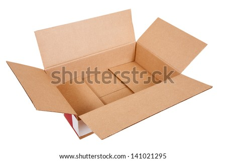 Opened cardboard box. Isolated over white background